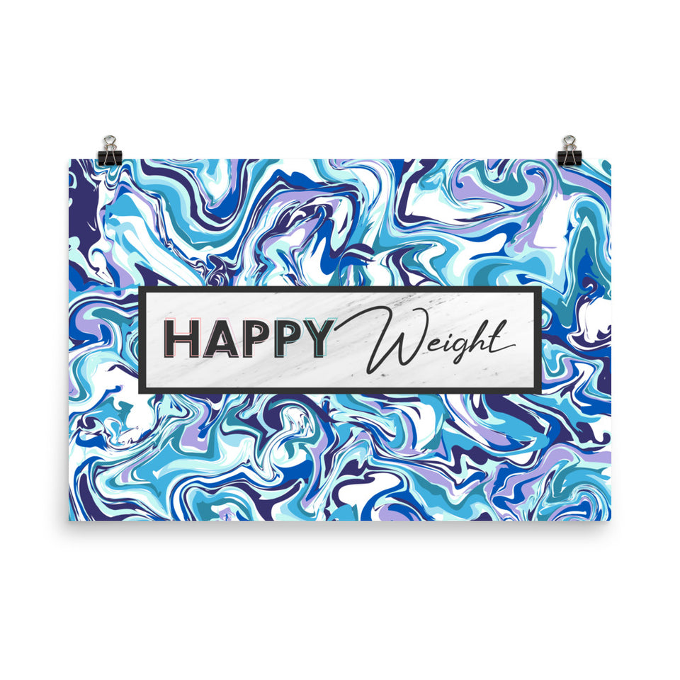 Happy Weight Marble Blue Photo Paper Poster
