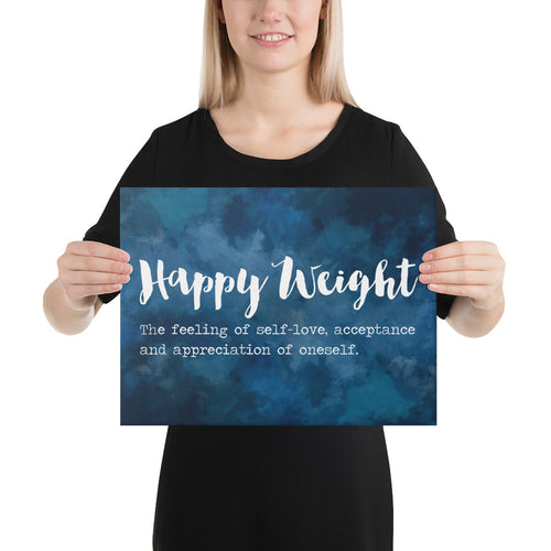 Happy Weight Defined Watercolor Dark Blue Canvas