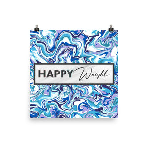 Happy Weight Marble Blue Enhanced Matte Poster