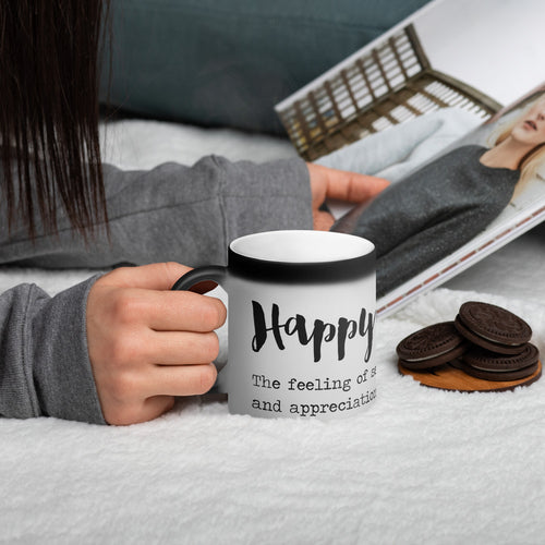 Happy Weight Defined Matte Black Magic Mug