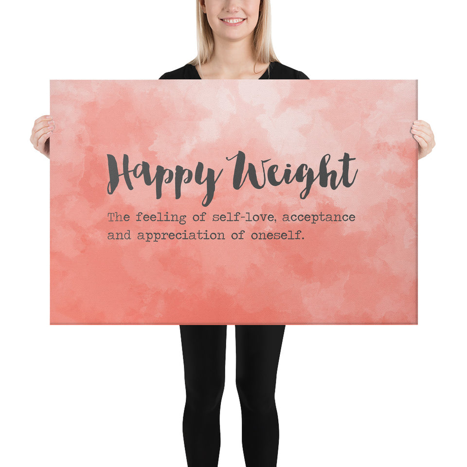 Happy Weight Defined Watercolor Coral Canvas