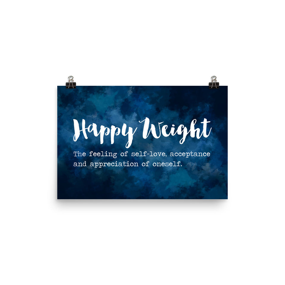 Happy Weight Defined Watercolor Dark Blue Enhanced Matte Poster