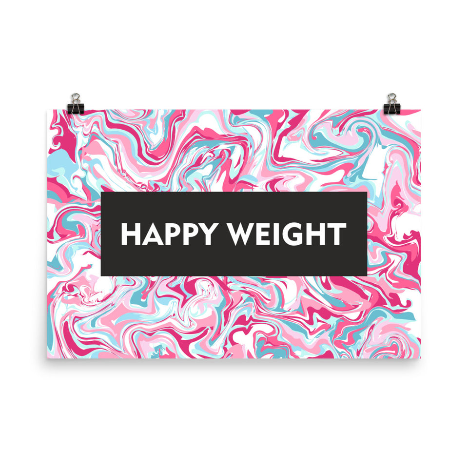 Happy Weight Marble Pink Enhanced Matte Poster