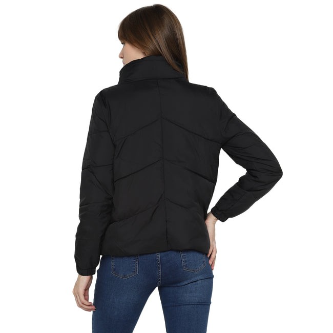 Tom Tailor Quilted Jacket Full Sleeve Black Jacket for Women