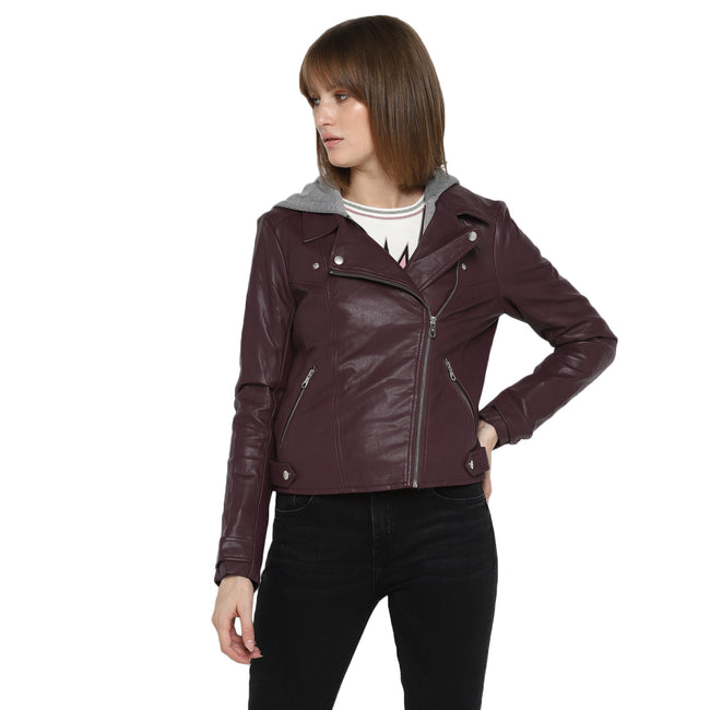 Tom Tailor Women's Jacket Wine Red Hooded Leather Jacket