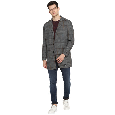 Tom Tailor Men's Long Blazer Slim Fit Overcoat Grey Check Pattern for Men