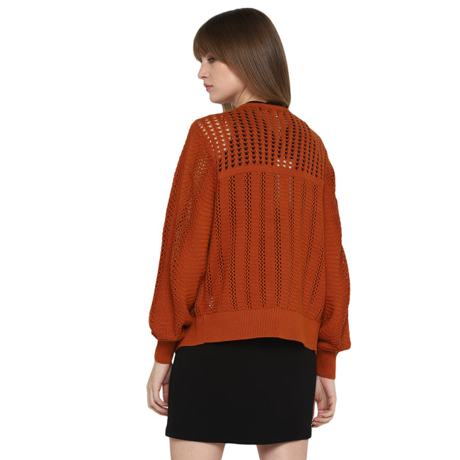 Tom Tailor Women's Open Weave Sweater Lightweight Shrug