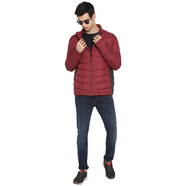 Tom Tailor Red Solid Puffer Jacket for Men