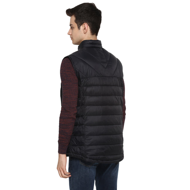 Tom Tailor Half Jacket for Men Puffer Half Sleeves Jacket (Black)