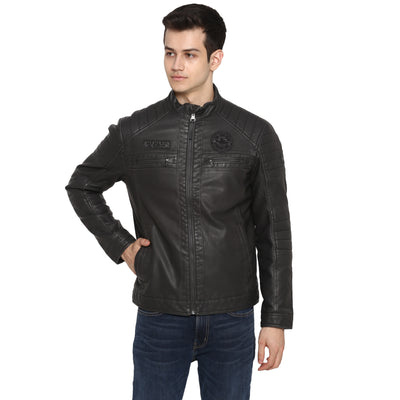 Tom Tailor Biker Leather Jacket For Men (Brown)