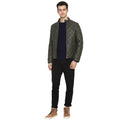 Tom Tailor Biker Leather Jacket For Men (Dark Olive Green)