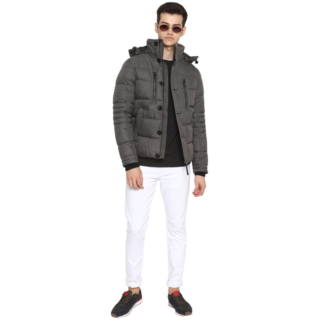 Tom Tailor Quilted Jacket with Hoodie Puffer Coat for Men