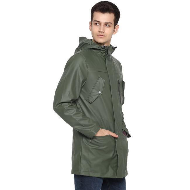 Tom Tailor Long Windcheater Jacket with Hoodie for Men