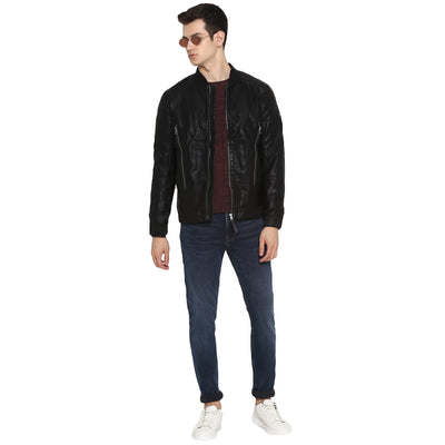 Tom Tailor Men's Biker Leather Jacket (Black)
