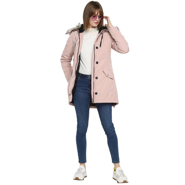 Tom Tailor Fur Hooded Solid Parka Jacket for Women