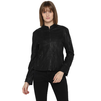 Tom Tailor Biker Leather Jacket For Women (Black)