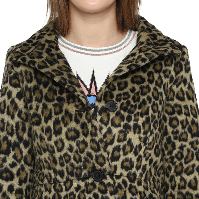 Tom Tailor Leopard Print Women's Wool Overcoat