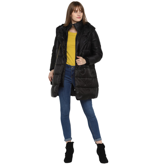 Tom Tailor Double layer Quilted Long Jacket for Women (Black)