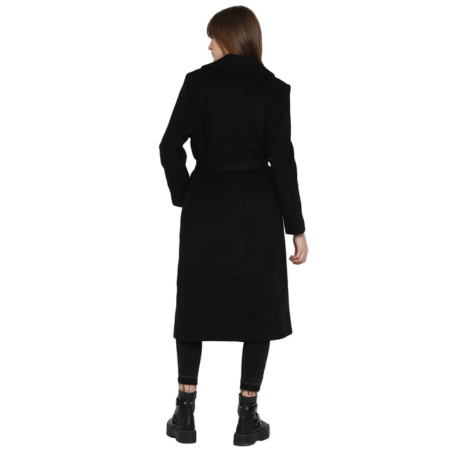 Tom Tailor Lapel Long Coat with Detachable Waist Belt (Black)