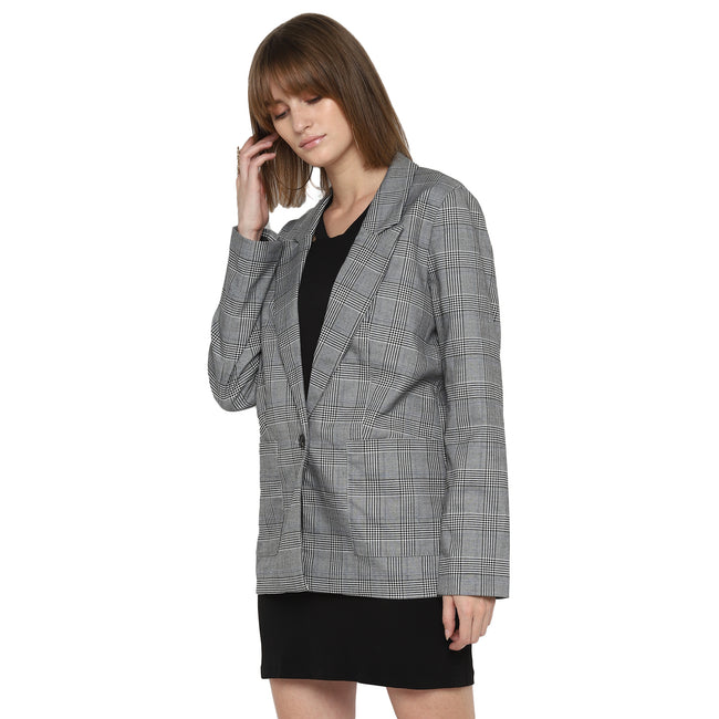 Tom Tailor Women's Casual Blazer Self-Checked Single-Breasted Coat