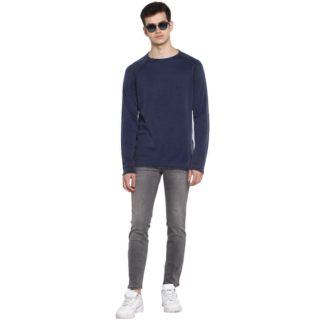 Tom Tailor Plain Winter Full Sleeves T-Shirt for Men (Blue)