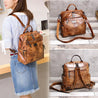 Women Oil Leather Retro Backpack Shoulder Bag