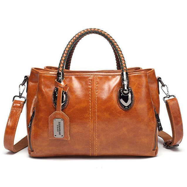 Classical Retro Oil Wax Leather Multi Pockets Women Bucket Handbag