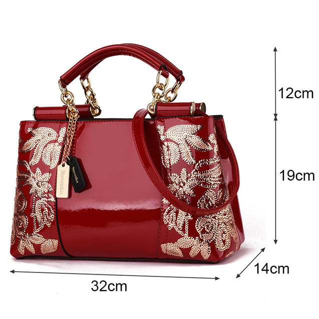 Embroidery Women Bag Leather Purses