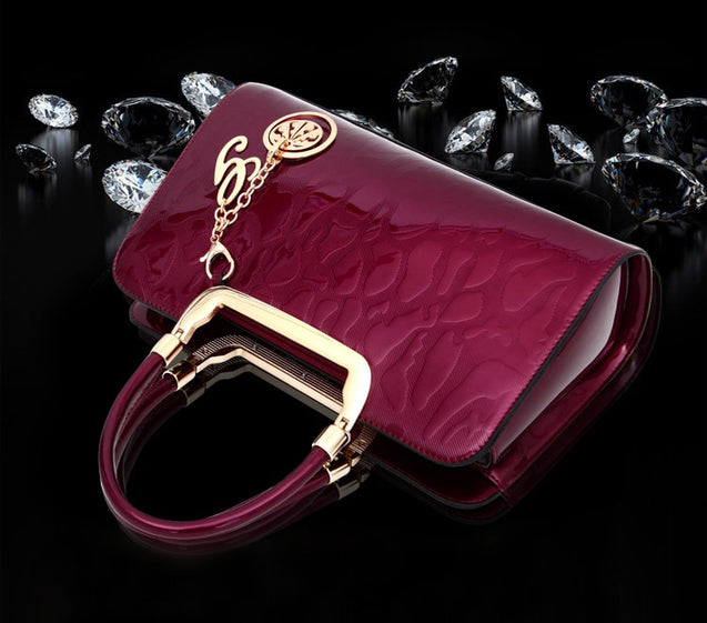 Designer Luxury Patent Leather Handle Women's Handbag