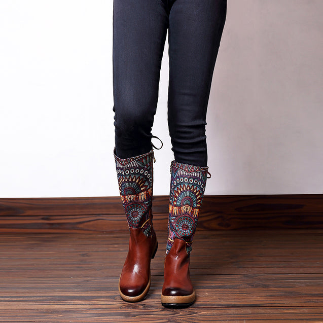 Genuine Leather Handmade Knee High Boots
