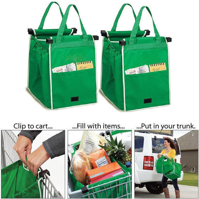 Reusable Large Trolley Clip-To-Cart Grocery Shopping Bags