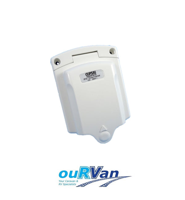 CLIPSAL 240V 15AMP IP34 WHITE POWER INLET CARAVAN 005193 435VFS15