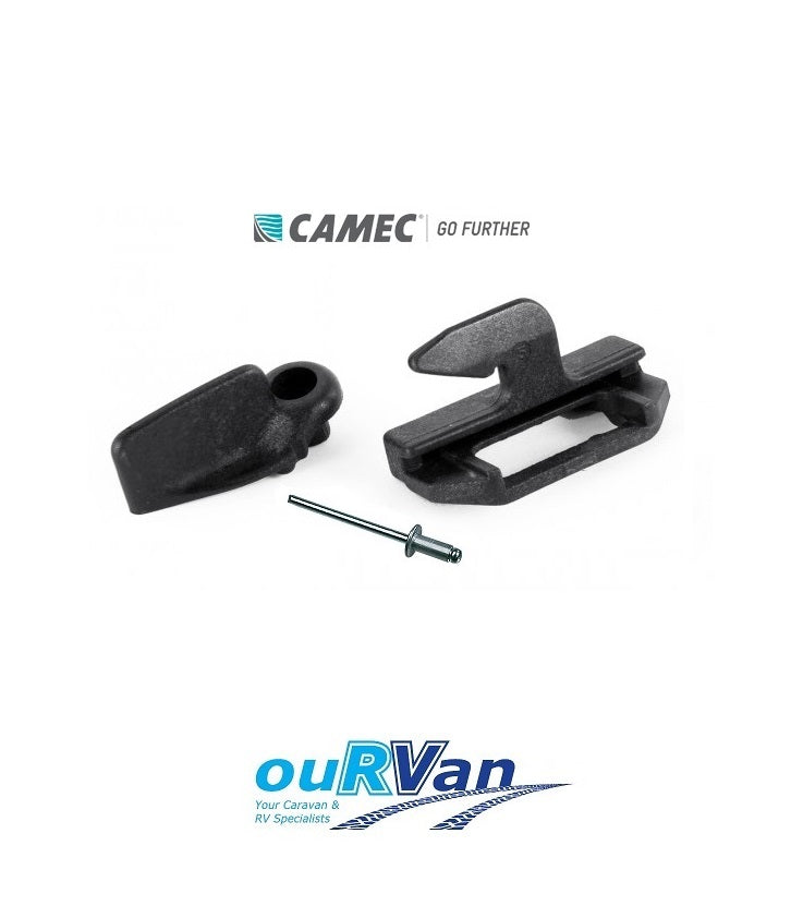 CAMEC CARAVAN WIND OUT WINDOW WOW THUMB LOCK BLACK 010196 - WITH RIVET