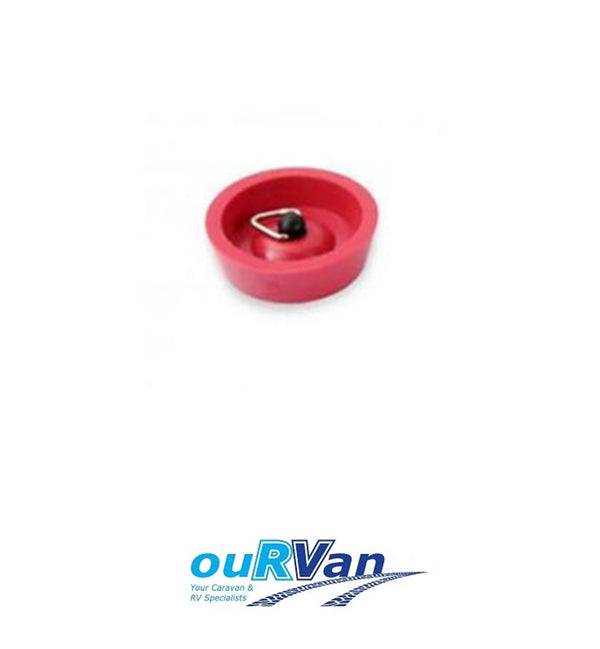 CARAVAN SINK PLUG 32MM RED RUBBER WITH CHAIN HOOK CAMEC 035578