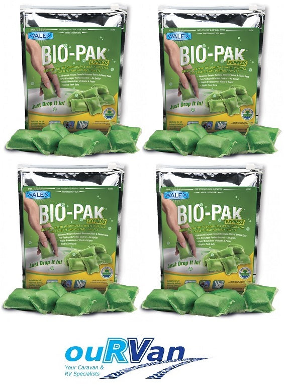 4 x WALEX BIO-PAK DROP IN 15 SACHET CARAVAN GREEN TOILET CHEMICAL 039899