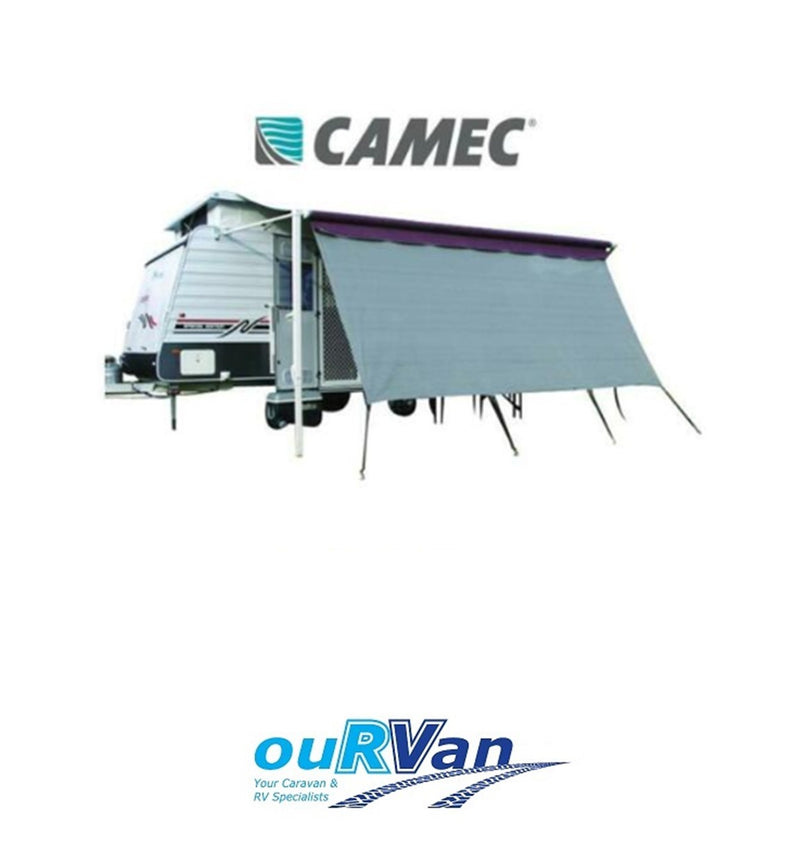 CAMEC 043480 PRIVACY SCREEN 2.8 x 1.8M SHADE AWNING DOUBLE ROPE TRACK CARAVAN RV