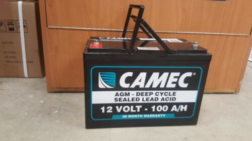CAMEC 100AH AGM DEEP CYCLE BATTERY 26 MONTH WARRANTY AUSTRALIA WIDE 042885