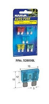 NARVA 52800BL ASSORTED FUSE PACK OF 5 STANDARD BLADE REGULAR FUSES