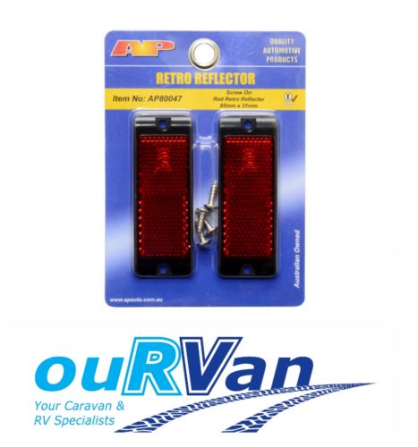 AP AUTO LAMPS RED REFLECTOR PAIR AP80047 SCREW ON CARAVAN TRAILER RETRO
