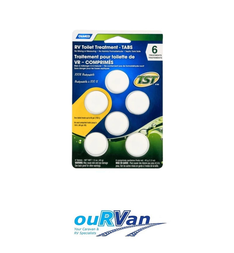 CAMCO 41152 RV TOILET TREATMENT TABS 6 PACK CARAVAN MOTORHOME RV