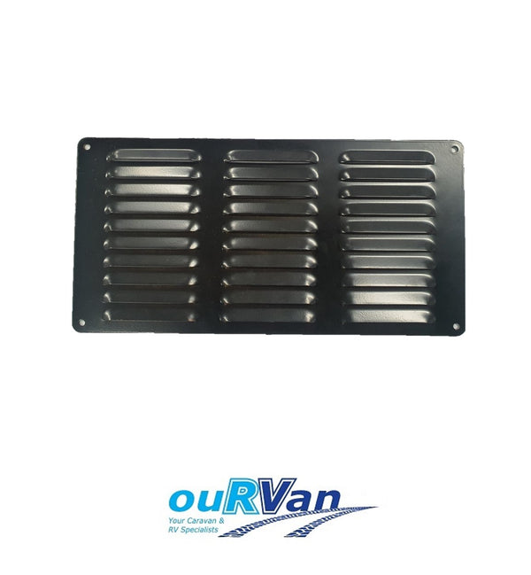 150MM x 300MM FLUTED ALUMINIUM VENT - BLACK