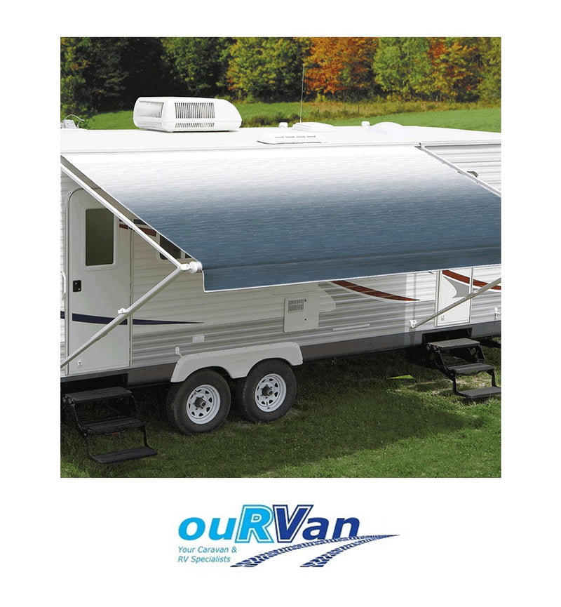 CAREFREE 13FT BLUE SHALE FADE ROLL OUT AWNING (NO ARMS). FF136C00HM 200-36430