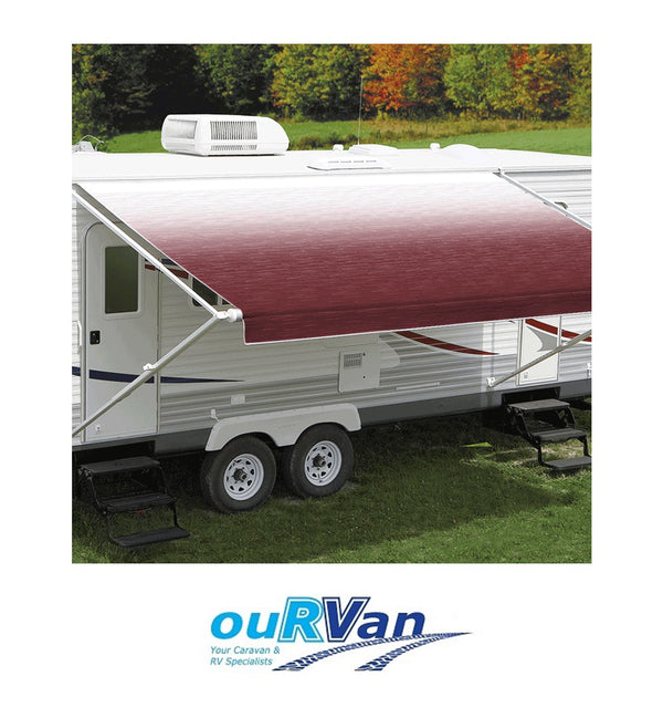CAREFREE 11FT BURGUNDY SHADE FADE ROLL OUT AWNING (NO ARMS). FF116A00HM