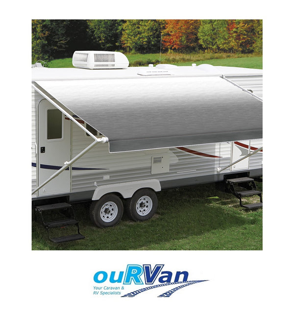 CAREFREE 17FT SILVER SHALE FADE ROLL OUT AWNING (NO ARMS). FF176D00 200-36770