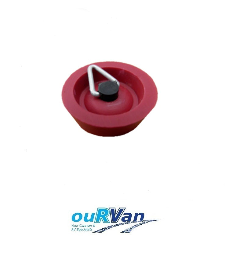 25MM CARAVAN SINK PLUG SMALL RED RUBBER WITH CHAIN HOOK CAMEC 006064