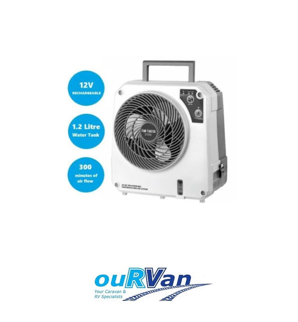 FANTASTIC ICEOCUBE AC/DC RECHARGEABLE EVAPORATIVE COOLER CARAVAN RV 12V FAN