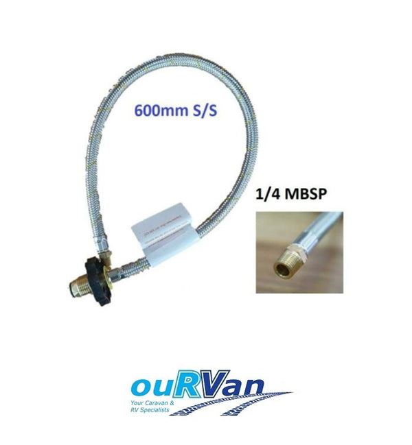 LPG BRAIDED GAS HOSE PIGTAIL FOR CARAVAN HAND WHEEL POL 1/4 MNPT 600MM - 51-HTFP14M600