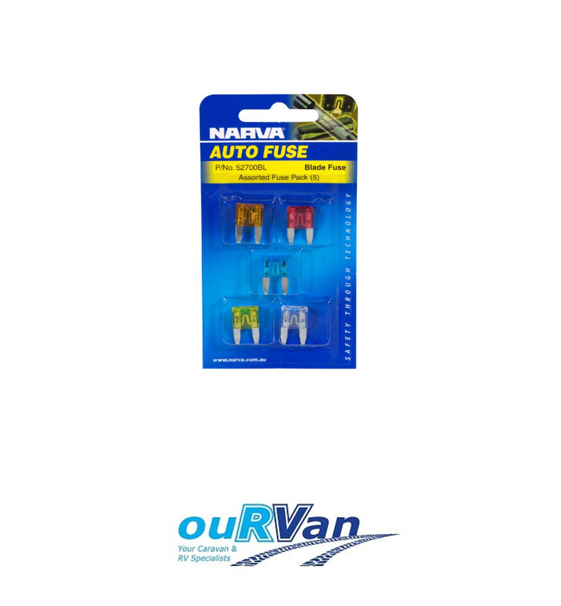 NARVA 52700BL ASSORTED FUSE PACK OF 5 MINI BLADE FUSES