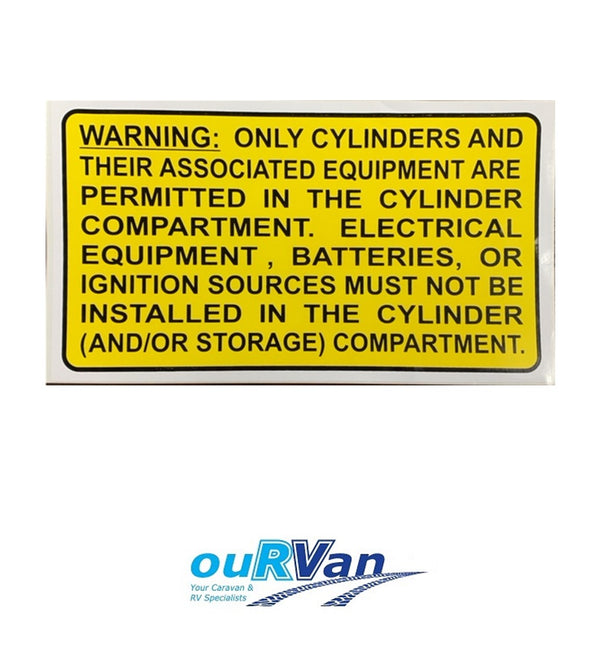 GAS CYLINDER COMPARTMENT WARNING LABEL 66-CCWL