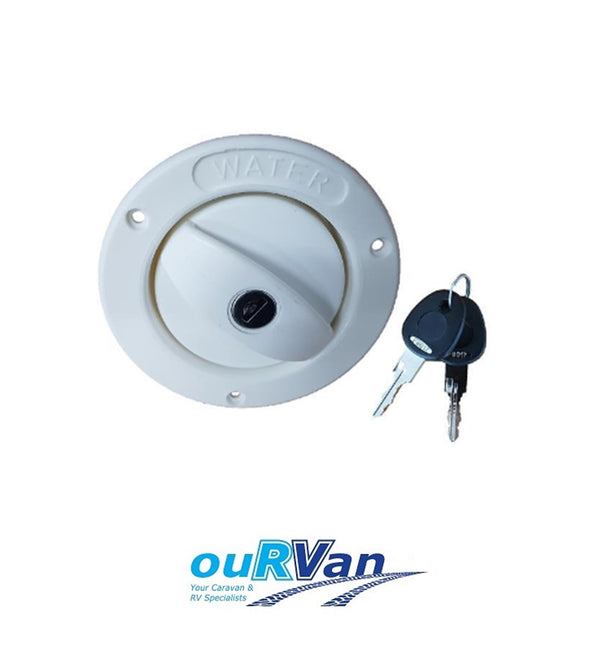 CARAVAN LOCKABLE WATER FILLER WITH CAP WITH KEYS WHITE 25MM HOSE 800-00900 COAST